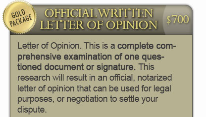 Official Written Letter of Opinion